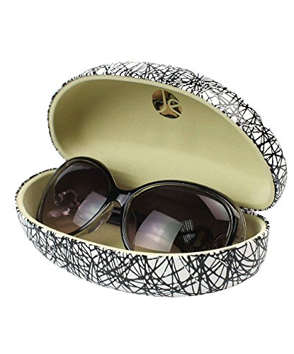 JAVOedge Black and White Scribble Pattern Fabric Clamshell Style Eyeglass / Sunglasses Case