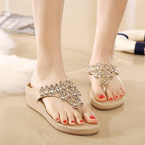 Gradiente con zapatillas bohemias fresco verano femenino 2017 fondo plano chanclas de diamante de moda estudiante zapatos de playa marea 35