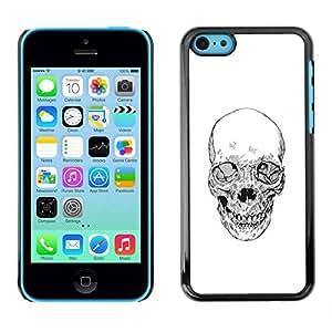 PC/Aluminum Funda Carcasa protectora para Apple Iphone 5C Skull White Black Death Metal Tattoo / JUSTGO PHONE PROTECTOR
