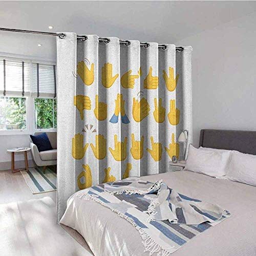 UNOSEKS LANZON Emoji Gromets Curtain Extra Long, Hand Signs Set Thumbs Down Okay Rock Signal Waving Peace Different Gestures Sliding Darkening Curtains, Mustard Blue White, W72 x L72 Inches