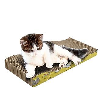 Jitong Impresa Camas Gato Rascador de Cartón Corrugado Curvo Sofás para Mascotas Juguetes Interactivos (Caqui, 45 * 21 * 5.5cm): Amazon.es: Hogar