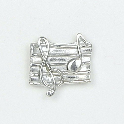 Music Lover's Scarf Pin with Magnetic Back Closure - No holes in Clothes - Handcrafted Pewter Made in USA by Lucina K.