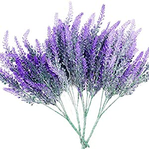 P-flowe Plastic Flower, Artificial Flowers Flocked Lavender Bouquet Romantic Fake Lavender Bunch Simulation Plant Flower in Purple Artificial Plant Home Wedding Garden Decor (4 Pcs Purple 57