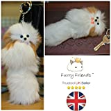 BUY 2 GET 1 FREE! *SALE* 20cm Large Furry Friend Dog Handmade Fur Keyring Toys & Games Mobile Phone Charms Furry Friends Fuzzy Thing Fad Stuff Clothes School Polish Special Birthday Easter Gifts (Dog)