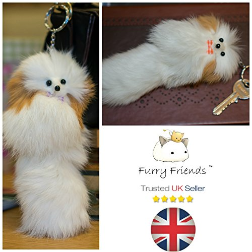 (BUY 2 GET 1 FREE!SALE 20cm Large Furry Friend Handmade Fur Lucky Rabbit Unique Gift Cute Chain Fox Ferret Craft Kids Girls Teen furry Friends Stuff Clothes School Gifts (White Dog))