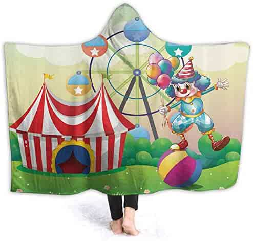 prunushome Stuffed Animal Blanket Clown Inflatable Ball Kids Huggable Pillow and Blanket Perfect for Pretend Play, Travel, nap time 80W by 60H Inches(with Hooded)