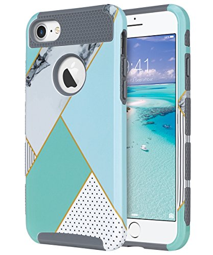 iPhone 7 Case, ULAK Colorful Series Slim Hybrid Scratch Resistant Hard Back Cover Shock Absorbent TPU Bumper Case for Apple iPhone 7 4.7 inch - Mint Geometric Marble