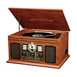 Victrola Nostalgic Classic Wood 6-in-1 Bluetooth Turntable Entertainment Center, Mahogany (Certified Refurbished)