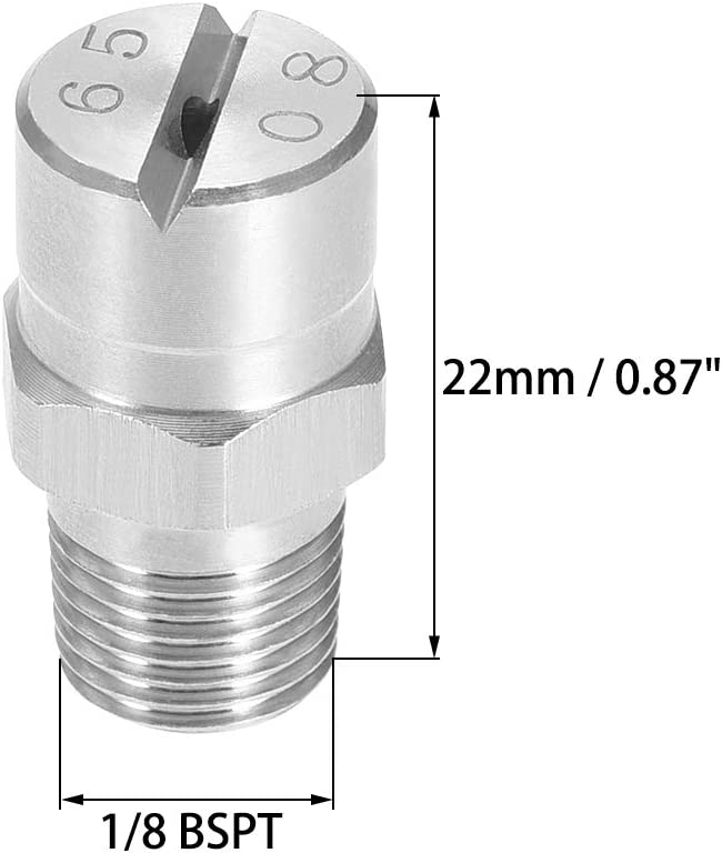 304 Edelstahl D/üse 1//8BSPT Au/ßengewinde 1 // 8BSPT Flachstrahld/üse Spitze sourcing map 2Stk 110 Grad, 1,8 mm /Öffnung