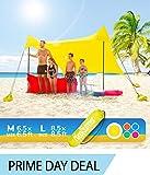 HappySummer Beach Tent sandbag Anchors—The Portable, Lightweight, 100% Lycra SunShelter UV Protection. The Perfect Sunshade Canopy The Entire Family (Yellow, Medium)