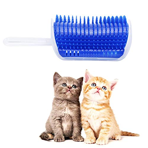 Gotega Cat Self Groomer/Wall Corner Groomers/Soft Grooming Brush/Massage Combs, Perfect Massage Tool for Cats/Dogs(Blue)