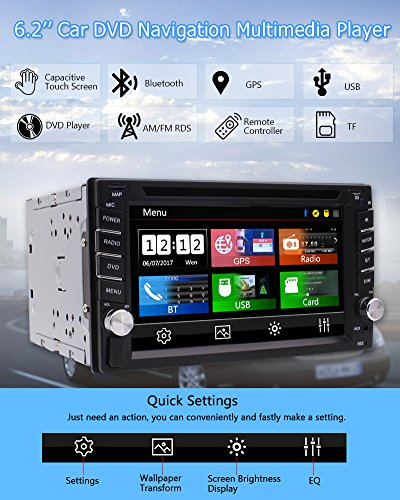 FREE Backup Camera Included + NEW Design Double Din Car Stereo DVD Player GPS Navigation Radio Bluetooth 2 Din Capacitive Touch Screen support USD SD 1080P SWC Car Logo Multi Language Remote Control by EinCar (Image #1)