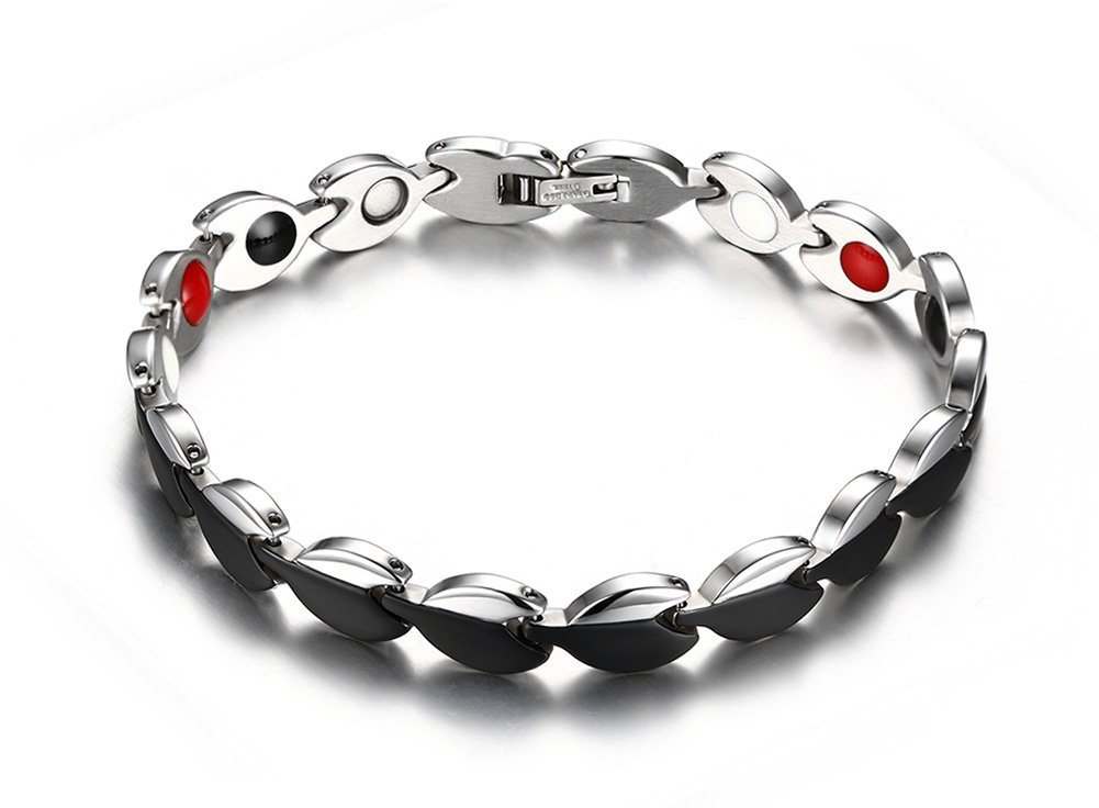Magnetic Therapy Bracelet for Women Pain Relief For Arthritis and Carpal Tunnel 7.5 Inch Black Silver Two Tone