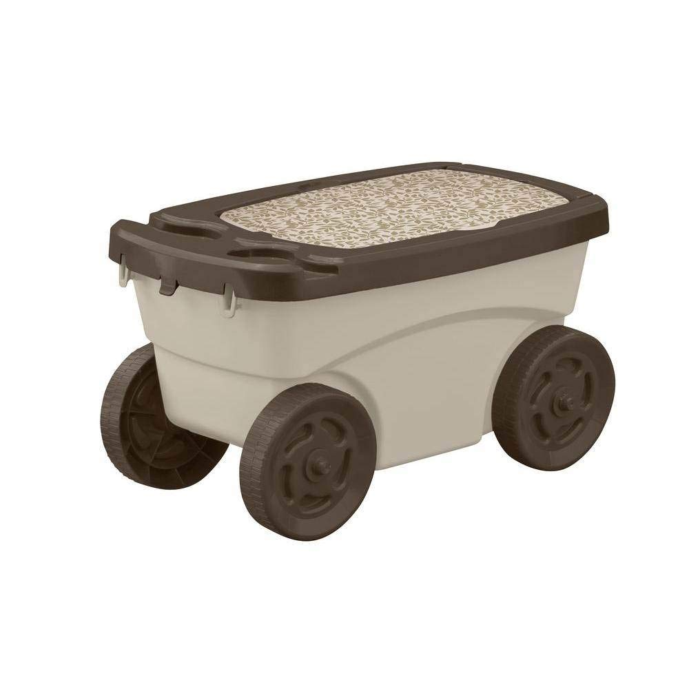 Suncast Outdoor Rolling Garden Scooter – Durable Plastic Portable Garden Seat Rolls in Grass and Dirt – Carries Garden Supplies