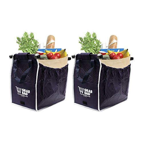 Insulated Reusable Grab Bag Grocery Shopping Tote Holds Up To 40 lbs (2) (Shopping Totes)