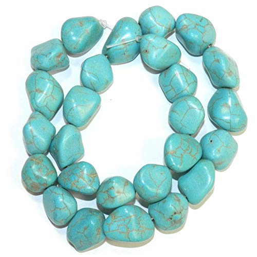 (Bead Jewelry Making Blue-Green Turquoise Medium 14mm- 18mm Magnesite Gemstone Nugget Bead 15