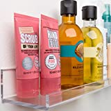 Acrylic Bathroom Shelves, Space Saving: Rustproof & Extra Strong, 10 x 3 inch Small Shelf (Set of 2) by Pretty Display - Easy to Wall Mount