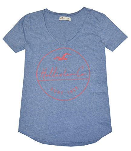 Hollister Women Slouchy Graphic V-neck Tee (XS, Heather Blue)