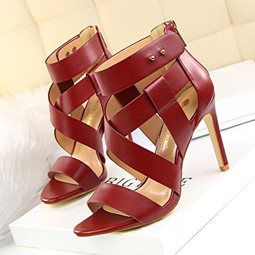 Xing Lin Zapatos De Verano Para Las Mujeres Cuñas Verano Toe Expuestos Era Delgada Con Tacones Altos Cortar Hollow Cruz Con Una Sandalia Romana Hembra Red wine