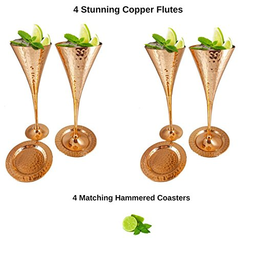 Moscow Mule Copper Flutes Set of 4 with Matching Pure Copper Coasters for Champagne Mules, Appetizers, Weddings. Kamojo Gift Set by Kamojo Mule (Image #1)