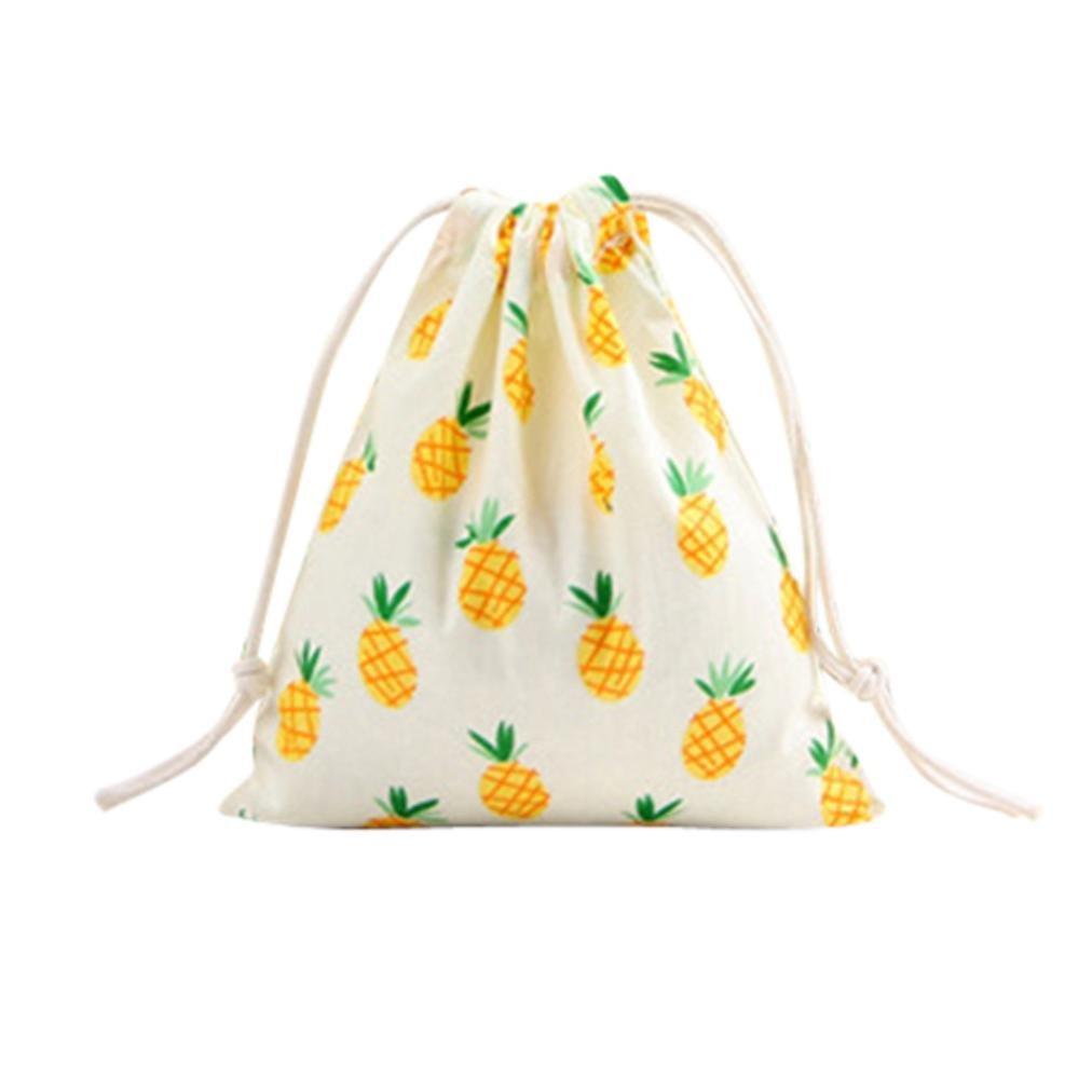 HP95(TM) Cartoon Printing Linen Drawstring Bags Travel Backpack Mini Pocket Purse (Large Size, Pineapple)