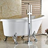 Rozinsanitary Polished Chrome Bathroom Tub Faucet Free Standing Bath Tub Filler W/ Hand Shower