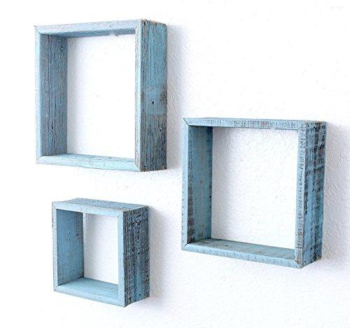 BarnwoodUSA Reclaimed Wooden Shelves – Set of 3 (8×8, 10×10, 12×12, turquoise)