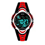 Kids Waterproof Digita Led Clcok, Stopwatch, Calendar, Rubber strap, for Girls Boys Watches (Red)