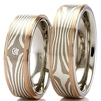 Mokume Gane Pair of Wedding Rings in 925 Silver and 585 Red Gold