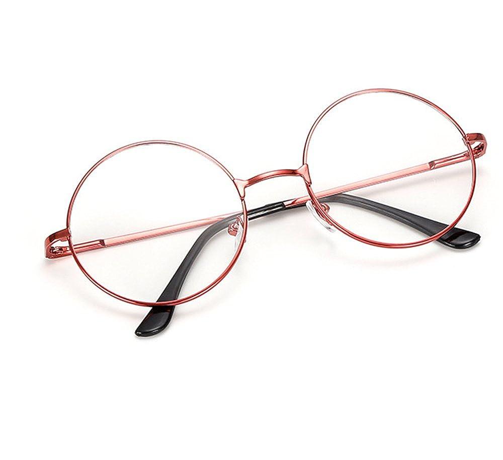 Fee-lice Unisex Retro Glasses Classic Metal Frame Clear Round Lens Sunglasses Vintage Geek Eyeglasses