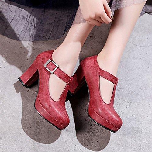 Carolbar Women's Retro Modern Block High Heel Buckle Court Shoes Red SkVmkW