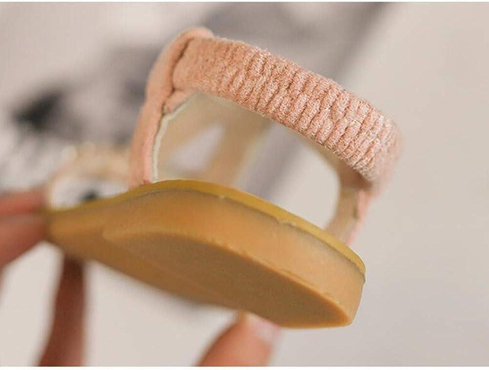 Fenical Filles Sandales en Cuir avec Perle Princesse PU Chaussures d/ét/é Respirant Sandales Plates Chaussures Bout Ouvert pour Les Enfants Enfants Rose 25 Verges