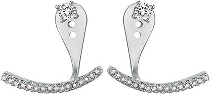 AoedeJ Round Cut Cubic Zirconia Stud Earrings 925 Sterling Silver Crystal Earrings Stud for Women and Girls