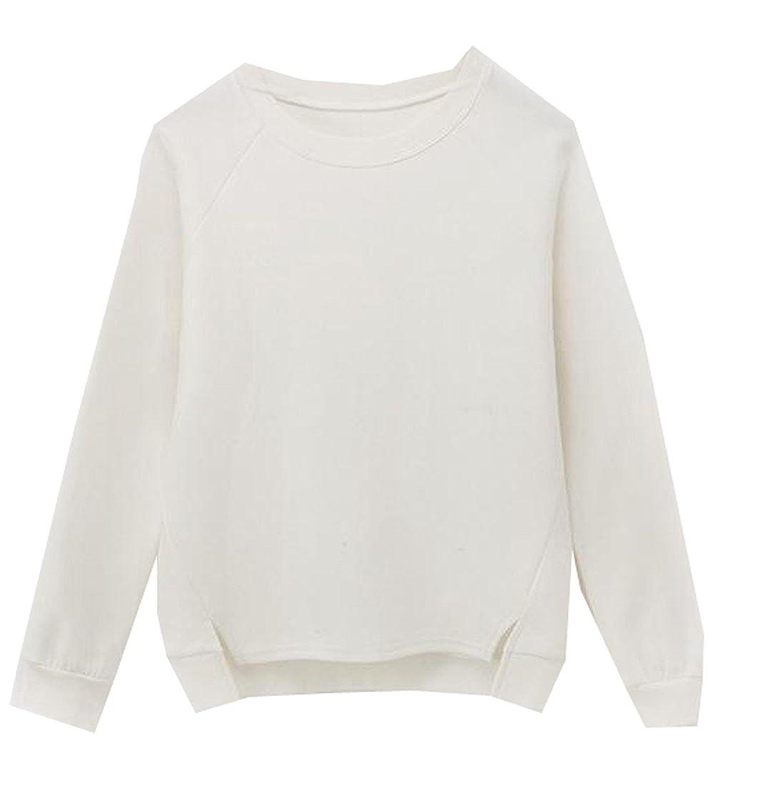 KXP Womens Autumn Hi-Low Pullover Long Raglan Sleeve Crewneck Sweatshirt White L