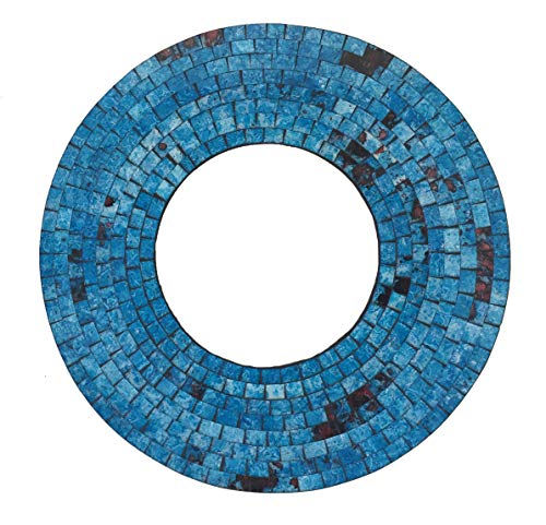 OMA Turquoise Blue Mosaic Glass Wall Mirror Hand Crafted Round Wall Mounted -