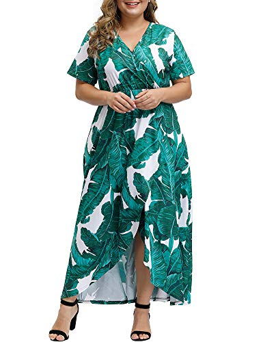 Allegrace Women Plus Size Maxi Dresses Snakeskin Wrap V Neck Summer Casual Flowy Long Dress P37 Big-Leaf Turquoise 3X (Turquoise Maxi Dress Plus Size)
