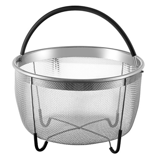 Stainless Steel Steamer Basket with Rubber Handle  - Compati
