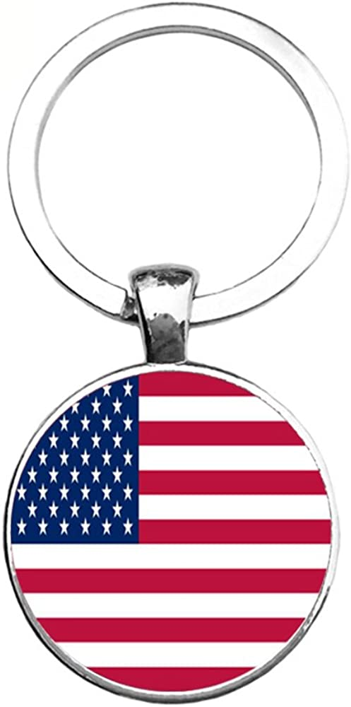 Art Attack USA American Glass Art Dome Flag Stars Stripes America Red White Blue Fourth 4th of July Keychain