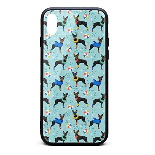 Best Phone Case for iPhone X Miniature Pinscher Dog Pool Party Rubber Frame Tempered Glass Covers Pretty Shock-Absorption Skid-Proof Never Fade Cell Cases Hard ()
