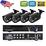 incoSKY 8CH Security Camera System, 4XIndoor/Outdoor 1.3MP 960P 2000TVL Camera 1080p DVR with IR Night Vision LED for Home Monitoring, CCTV Surveillance,Black1