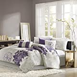 Madison Park Lola 7 Piece Print Comforter Set, King, Grey/Purple