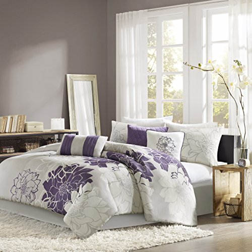 Madison Park Lola Twin/Twin Xl Size Bed Comforter Set - Purple, Grey, Floral, Flowers – 6 Pieces Bedding Sets – Cotton Sateen, Cotton Poly Crossweave Bedroom Comforters - Madison Twin Comforter