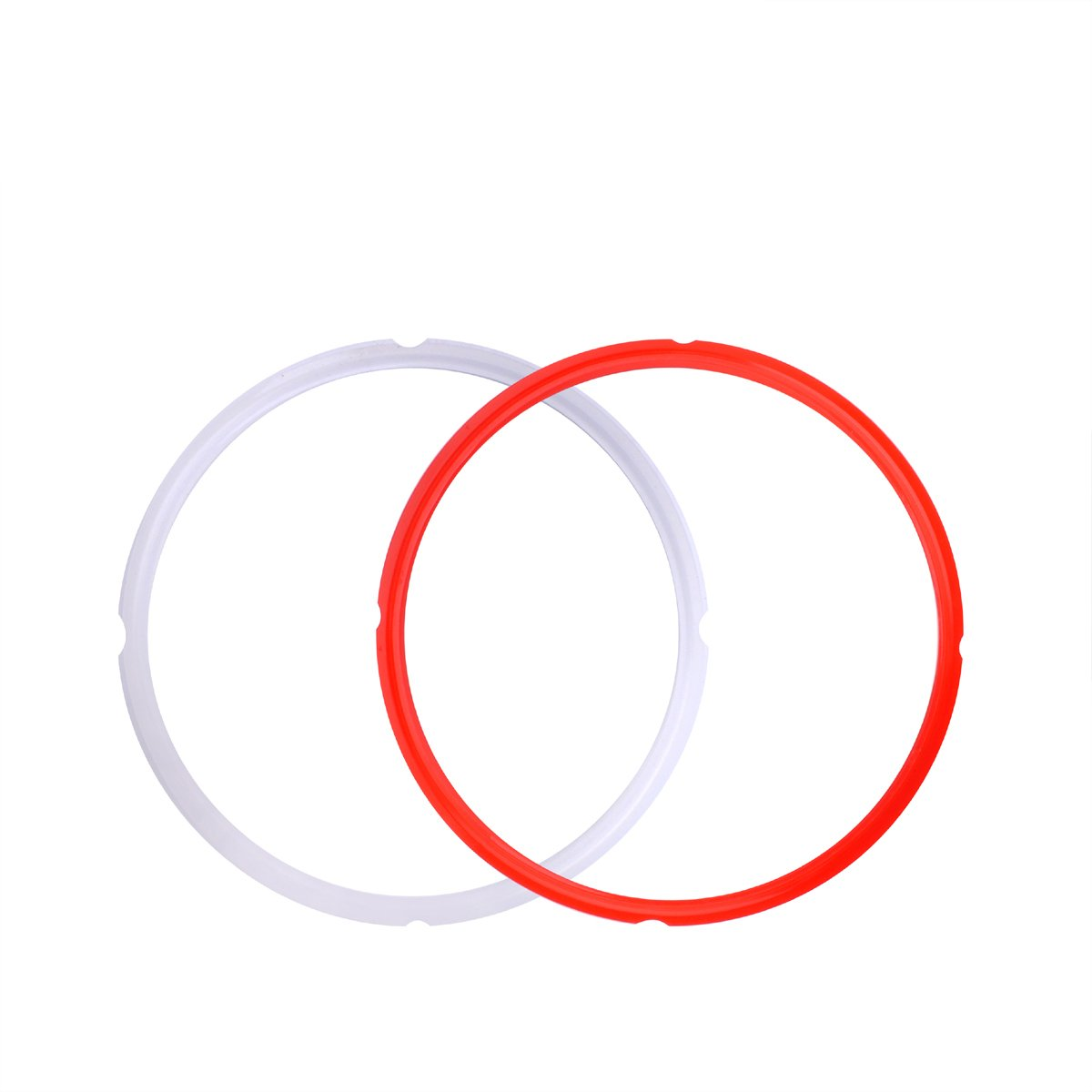 Moveland Silicone Sealing Rings for 5 qt or 6 qt Instant Pot Models, Fits IP-DUO60, IP-LUX60, Smart-60,IP-DUO50, IP-LUX50, IP-CSG60 and IP-CSG50, 2-PACK (Clear & Red)