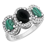 10K White Gold Natural Black Onyx & Malachite 3-Stone Ring Oval Diamond Accent, sizes 5 - 10