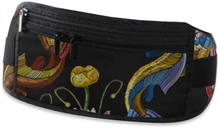 Travel Waist Pack,travel Pocket With Adjustable Belt Embroidery Koi Fish Water Lily Running Lumbar Pack For Travel Outdoor Sports Walking