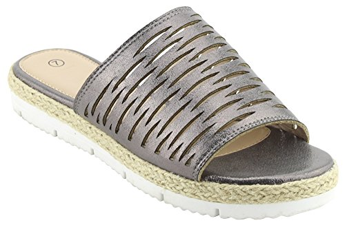 Cambridge Select Womens Open Toe Geometric Laser Cutout Caged Espadrille Mixed Media Slip-On Flatform Slide Sandal Pewter Pu 39XcP6D