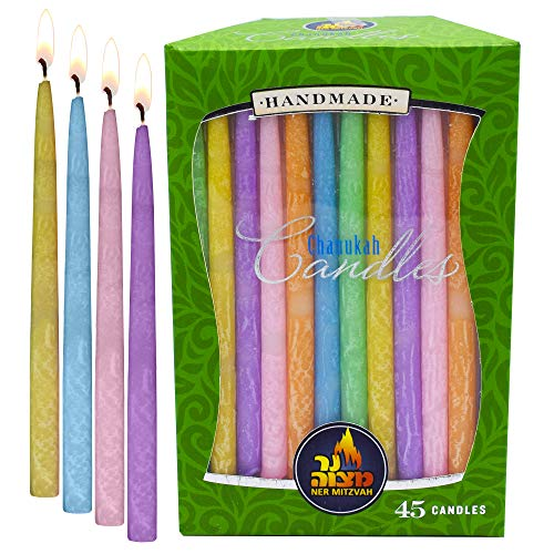 Ner Mitzvah Colorful Dripless Handmade Chanukah Candles - Standard Size Fits Most Menorahs - Premium Quality Wax - Assorted Pastel Colors - 45 Count for All 8 Nights of -