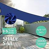 USKingSo Sun Shade Sail UV Block Polyethylene Farbic in Blue Sand Triangle for Patio Garden Patio Customized Sizes Available Rectangle3x5m