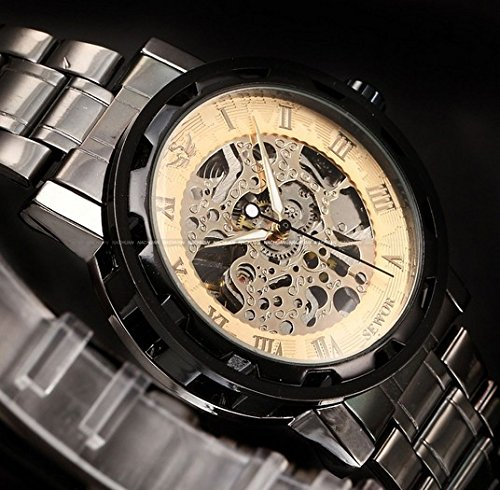 Sewor Brand New Classic Skeleton Gold Dial Steel Strap Hand Wind Mechanical Analog Mens Casual Watch Pmw239