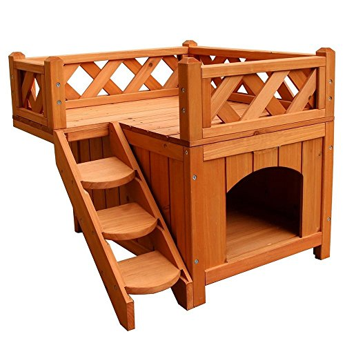 Kuyal Puppy House Wooden Little Dog House Deluxe Pet Home Indoor/Outdoor Wood Cat House Shelter (Type 4)